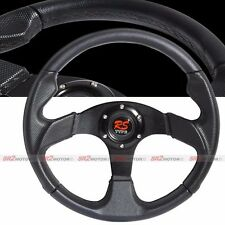 Universal Jet Black 350mm PVC Leather Racing Steering Wheel with Horn JDM