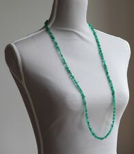 "GREEN ONYX LONG LINE NECKLACE 37"" LENGTH ~ SILVER PLATED CLASP"