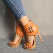 Fashion Women Platform Stiletto Heels Sandals Buckle Peep Party Shoes Plus Size
