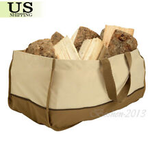 Heavy Duty Canvas Log Carrier Tote Bag Handle Firewood Storage Holder Fireplace