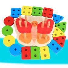 Wooden Educational Toddler Toys Geometric Shapes Block Board Stack Sorter Z