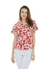 Women Ladies Aloha Shirt in Red Luau