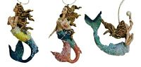 Mermaid Collecting Treasures of the Sea Christmas Holiday Ornaments Set of 3