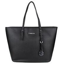 Tom & Eva Damen Handtasche Jet Set Shopper Tasche Schwarz mit Silver Anhänger