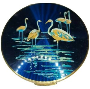 Vintage Stratton compact, cover features 5 Flamingos, rear engine turned stars