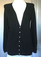 FRED PERRY black cardigan COTTON/CASHMERE size  8/10