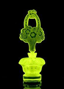 Glamorous Art Deco Vaseline Glass Perfume Bottle