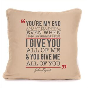 John Legend All Of Me Loves All Of You Song Lyrics Cushion Cover Gift Design 2