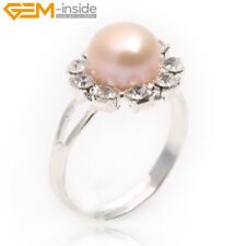Fashion White Gold Plated Sun Shape Freshwater Pearl Ring XMAS Jewelry Christmas