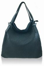 Italian woven navy blue soft calf leather lge handbag w s.strap;  3 compartments