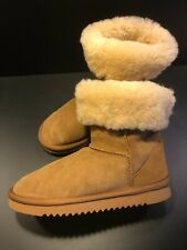 Taylor Marcs Classic Womens Winter Boots Chestnut Shearling Suede Side: 6 New