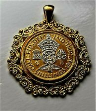 More details for 2 shilling-florin coin-crowned rose king george vi gold plated 24ct pendant