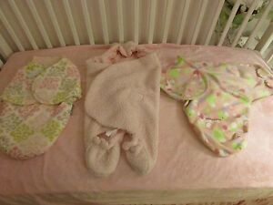3  Baby Girl Swaddles Pink Blankets And Beyond, Beansprout, & kiddapotamus EUC