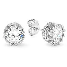Round CZ Clear 6mm Crown Set Stud Silver Earring