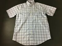 Orvis Mens Blue Plaid Front Pocket Button Front Short Sleeve Shirt Size Medium