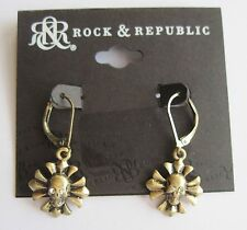 Rock & Republic Gold Tone Skull w Crystal Eyes Drop Dangle Earrings, FREE S&H