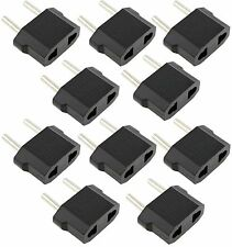 10 Black Travel Charger Wall AC Power Plug Adapter Converter US USA to EU Europe