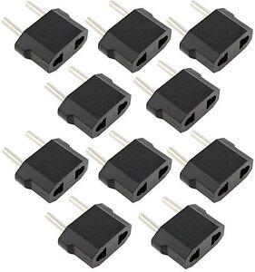 (10-pack) US USA to EU Euro Europe Power Jack Wall Plug Converter Travel Adapter