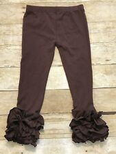 Brown Baby Girls Ruffle Pants Leggings Size 7 Boutique Icing Style