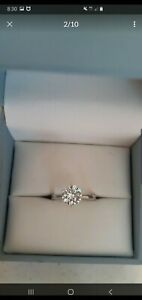 Charles and  Colvard 1.5 carat round solitaire  moissanite 14 kt white gold