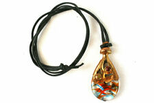 """15.5"""" Art Nouveau Brass and Glass Necklace Two Small Beads and Black Cording"""