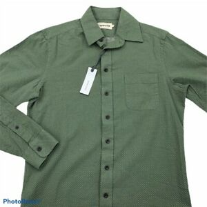 Taylor Stitch Mens California Dress Shirt Green Jacquard Organic Cotton 36 New