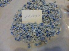 perle ancienne vintage lot  740 perle en verre blanc mitigé bleu forme rectangle