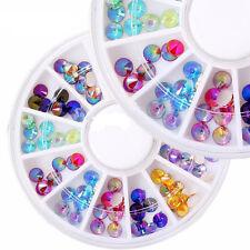 12 Color 3D Rhinestones Glitter Crystal Gems Nail Art Tips DIY Decoration Wheel