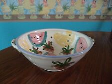 COLANDER POTTERY FRUIT STRAWBERRY WATERMELON SIGNED IAO LAO JAO CAPE COD 1993