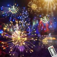 Hanging Firework LED Fairy String Light With Remote Christmas Party Xmas Decor
