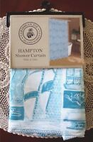 Caribbean Joe HAMPTON Aqua Blue Nautical Seashells Fabric Shower Curtain NEW