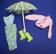 2000 BARBIE DOLL CLOTHES-Rain or Shine Flower Umbrella Boots Jacket Outfit Lot