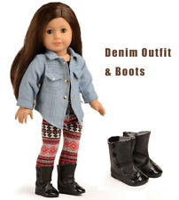 3c58287f089 Doll Clothes Shoes Denim Jacket Outfits For 18 inch American Girl doll