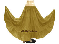 Women Cotton 4 Tiered 6 Yard Skirt Maxi Belly Dance Gypsy Tribal Jupe Boho Skirt