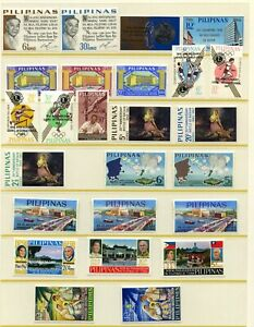 PHILIPPINES, Nice Lot of 40+ Stamps, Very Light Hinged, 1960s, See Scans