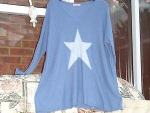Miss Sugar Denim Blue  Cashmere Oversized V Neck Jumper Tunic  Made in Italy L