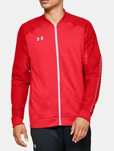 Men's Under Armour Knit Warm Up Full Zip Track Jacket Red 1327203-600