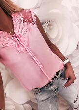 Damen Spitze Patchwork Elegantes Bluse Mode Oberteil Arbeit Hemd Slim Top Shirt