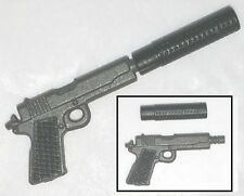 """45 Automatic Pistol w/ Silencer Gun-Metal -1:18 Scale Weapon for 3-3/4"""" Figures"""