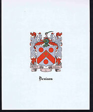 DENISON Coat of Arms & Family Crest - Vintage Print