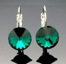 Swarovski Emerald Green Crystal Dangle Earring Wedding 14k White Gold gp Silver