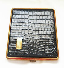 VINTAGE DARK BROWN WITH GOLD TONE GATOR LEATHER LIKE CIGARETTE CASE/GERMANY