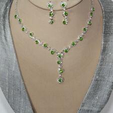 Schmuckset Collier Ohrringe Kristall Strass Braut Halskette Kette Silber Grün 38