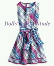 NEW American Girl Purple Pink Blue Plaid Party Spring Summer Dress for Girls 8