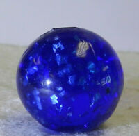 #12396m Vintage German Blue Glass Mica Marble .80 Inches *Near Mint*