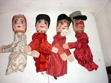 Lot de 4 Ancienne traditionnel Marionnettes de GUIGNOL lyonnaise en bois sculpté