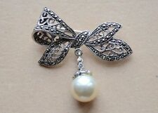 Genuine 925 Sterling Silver PIN BROOCH  with Marcasite Stones & Pearl