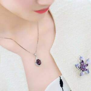 Girls Gift Amethyst Pendant Women's Necklace Fashion Elegant Wedding Jewelry SU