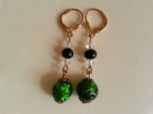 Vintage art deco drizzle foiled beads EARRINGS green/black/clear glass GP GIFTS!