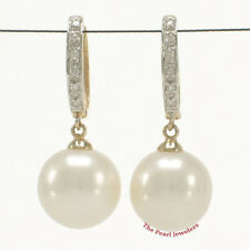 14k Yellow Gold &12 Diamonds C Hoop Earrings AAA 10.5mm White Cultured Pearl TPJ